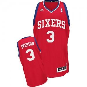 Maillot NBA Philadelphia 76ers #3 Allen Iverson Rouge Adidas Swingman Road - Homme