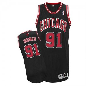 Maillot NBA Noir Dennis Rodman #91 Chicago Bulls Alternate Authentic Homme Adidas