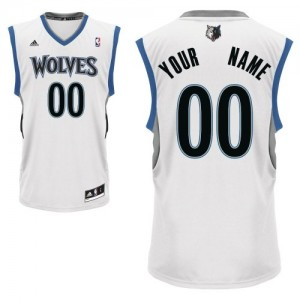 Maillot NBA Blanc Swingman Personnalisé Minnesota Timberwolves Home Enfants Adidas