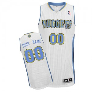 Maillot NBA Denver Nuggets Personnalisé Authentic Blanc Adidas Home - Homme