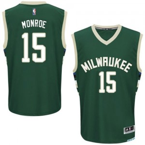 Maillot NBA Milwaukee Bucks #15 Greg Monroe Vert Adidas Authentic Road - Homme