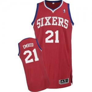 Philadelphia 76ers Joel Embiid #21 Road Authentic Maillot d'équipe de NBA - Rouge pour Homme