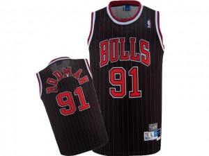 Maillot Nike Noir Rouge Throwback Authentic Chicago Bulls - Dennis Rodman #91 - Homme