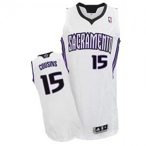 Maillot NBA Blanc DeMarcus Cousins #15 Sacramento Kings Home Authentic Homme Adidas