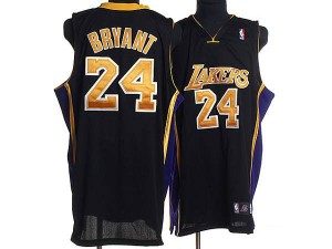 Maillot Authentic Los Angeles Lakers NBA Final Patch Noir / Or - #24 Kobe Bryant - Homme