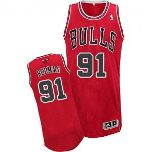 Maillot Authentic Chicago Bulls NBA Road Rouge - #91 Dennis Rodman - Homme
