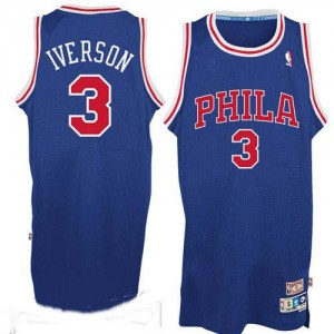 Maillot Adidas Bleu / Rouge Throwack Authentic Philadelphia 76ers - Allen Iverson #3 - Homme
