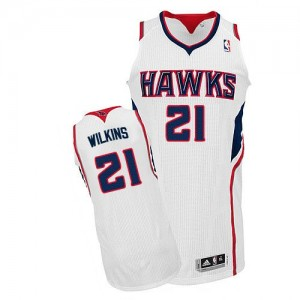 Maillot NBA Atlanta Hawks #21 Dominique Wilkins Blanc Adidas Authentic Home - Homme