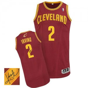Maillot NBA Cleveland Cavaliers #2 Kyrie Irving Vin Rouge Adidas Authentic Road Autographed - Homme