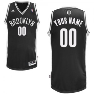 Maillot NBA Brooklyn Nets Personnalisé Swingman Noir Adidas Road - Enfants