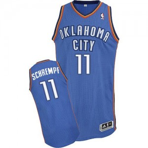 Maillot NBA Bleu royal Detlef Schrempf #11 Oklahoma City Thunder Road Authentic Homme Adidas
