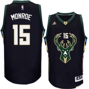 Maillot Adidas Noir Alternate Authentic Milwaukee Bucks - Greg Monroe #15 - Homme