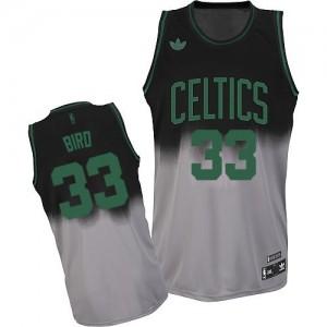 Boston Celtics #33 Adidas Fadeaway Fashion Gris noir Swingman Maillot d'équipe de NBA magasin d'usine - Larry Bird pour Homme