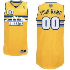 Denver Nuggets Authentic Personnalisé Alternate Maillot d'équipe de NBA - Or pour Femme