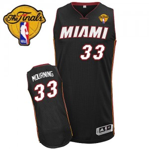 Maillot NBA Noir Alonzo Mourning #33 Miami Heat Road Finals Patch Authentic Homme Adidas