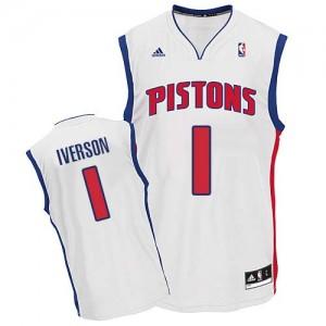 Maillot Adidas Blanc Home Swingman Detroit Pistons - Allen Iverson #1 - Homme