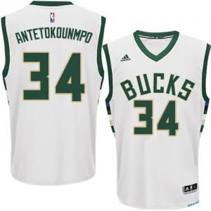Milwaukee Bucks Giannis Antetokounmpo #34 Home Authentic Maillot d'équipe de NBA - Blanc pour Homme