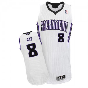 Sacramento Kings #8 Adidas Home Blanc Authentic Maillot d'équipe de NBA Discount - Rudy Gay pour Homme