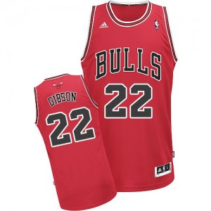 Maillot NBA Chicago Bulls #22 Taj Gibson Rouge Adidas Swingman Road - Homme