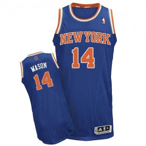 Maillot NBA Authentic Anthony Mason #14 New York Knicks Road Bleu royal - Homme