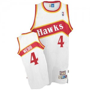 Maillot NBA Blanc Spud Webb #4 Atlanta Hawks Throwback Authentic Homme Adidas