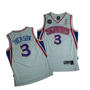 Maillot NBA Philadelphia 76ers #3 Allen Iverson Blanc Swingman 10TH Throwback - Homme