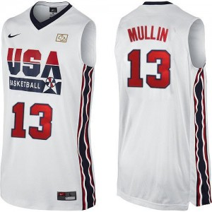 Maillots de basket Swingman Team USA NBA 2012 Olympic Retro Blanc - #13 Chris Mullin - Homme
