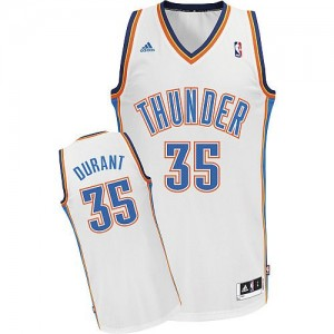Maillot NBA Blanc Kevin Durant #35 Oklahoma City Thunder Home Swingman Enfants Adidas