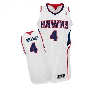 Atlanta Hawks #4 Adidas Home Blanc Authentic Maillot d'équipe de NBA boutique en ligne - Paul Millsap pour Homme