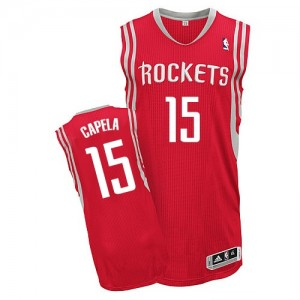 Maillot NBA Houston Rockets #15 Clint Capela Rouge Adidas Authentic Road - Homme