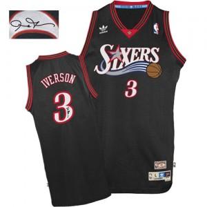 Maillot Adidas Noir 1997-2009 Throwback Autographed Authentic Philadelphia 76ers - Allen Iverson #3 - Homme