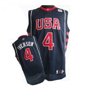 Team USA Nike Allen Iverson #4 Summer Olympics Authentic Maillot d'équipe de NBA - Bleu marin pour Homme