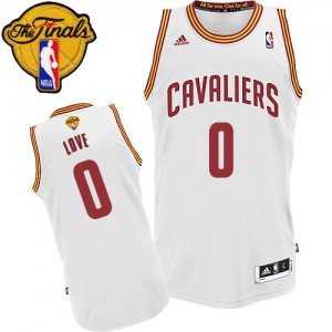 Maillot NBA Swingman Kevin Love #0 Cleveland Cavaliers Home 2015 The Finals Patch Blanc - Homme