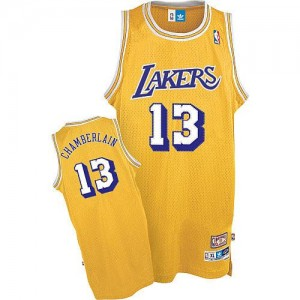 Maillot Authentic Los Angeles Lakers NBA Throwback Or - #13 Wilt Chamberlain - Homme