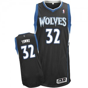 Maillot Adidas Noir Alternate Authentic Minnesota Timberwolves - Karl-Anthony Towns #32 - Homme