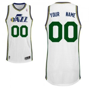 Maillot NBA Utah Jazz Personnalisé Authentic Blanc Adidas Home - Homme