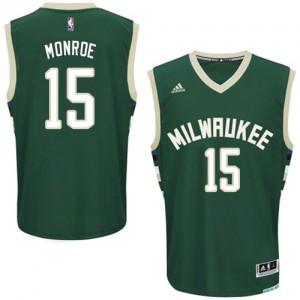 Milwaukee Bucks #15 Adidas Road Vert Swingman Maillot d'équipe de NBA Peu co?teux - Greg Monroe pour Homme