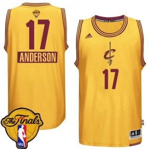 Cleveland Cavaliers Anderson Varejao #17 2014-15 Christmas Day 2015 The Finals Patch Swingman Maillot d'équipe de NBA - Or pour Homme