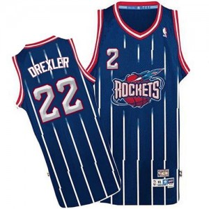 Maillot NBA Bleu marin Clyde Drexler #22 Houston Rockets Throwback Authentic Homme Adidas