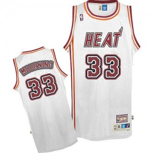 Maillot NBA Blanc Alonzo Mourning #33 Miami Heat Throwback Authentic Homme Adidas