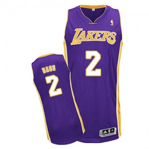 Maillot Authentic Los Angeles Lakers NBA Road Violet - #2 Brandon Bass - Homme