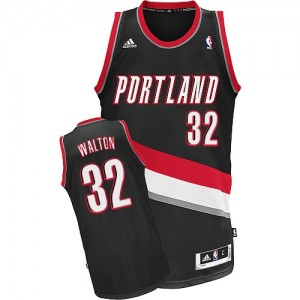 Maillot NBA Portland Trail Blazers #32 Bill Walton Noir Adidas Swingman Road - Homme