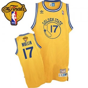 Maillot NBA Golden State Warriors #17 Chris Mullin Or Adidas Swingman Throwback 2015 The Finals Patch - Homme