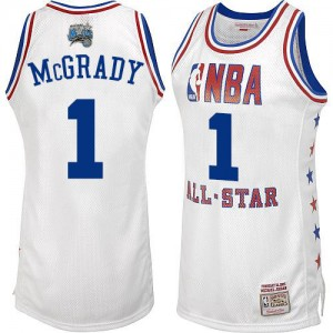 Orlando Magic Mitchell and Ness Tracy Mcgrady #1 2003 All Star Swingman Maillot d'équipe de NBA - Blanc pour Homme