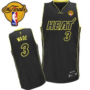Maillot NBA Miami Heat #3 Dwyane Wade Noir Adidas Authentic Electricity Fashion Finals Patch - Homme