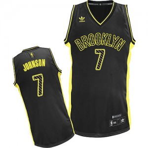 Brooklyn Nets #7 Adidas Electricity Fashion Noir Swingman Maillot d'équipe de NBA 100% authentique - Joe Johnson pour Homme