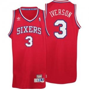 Maillot NBA Rouge Allen Iverson #3 Philadelphia 76ers Throwack Swingman Homme Adidas