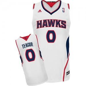 Maillot NBA Blanc Jeff Teague #0 Atlanta Hawks Home Swingman Homme Adidas
