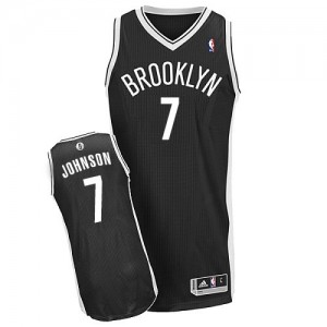 Brooklyn Nets Joe Johnson #7 Road Authentic Maillot d'équipe de NBA - Noir pour Homme