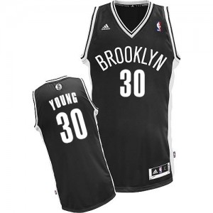 Maillot NBA Noir Thaddeus Young #30 Brooklyn Nets Road Swingman Enfants Adidas
